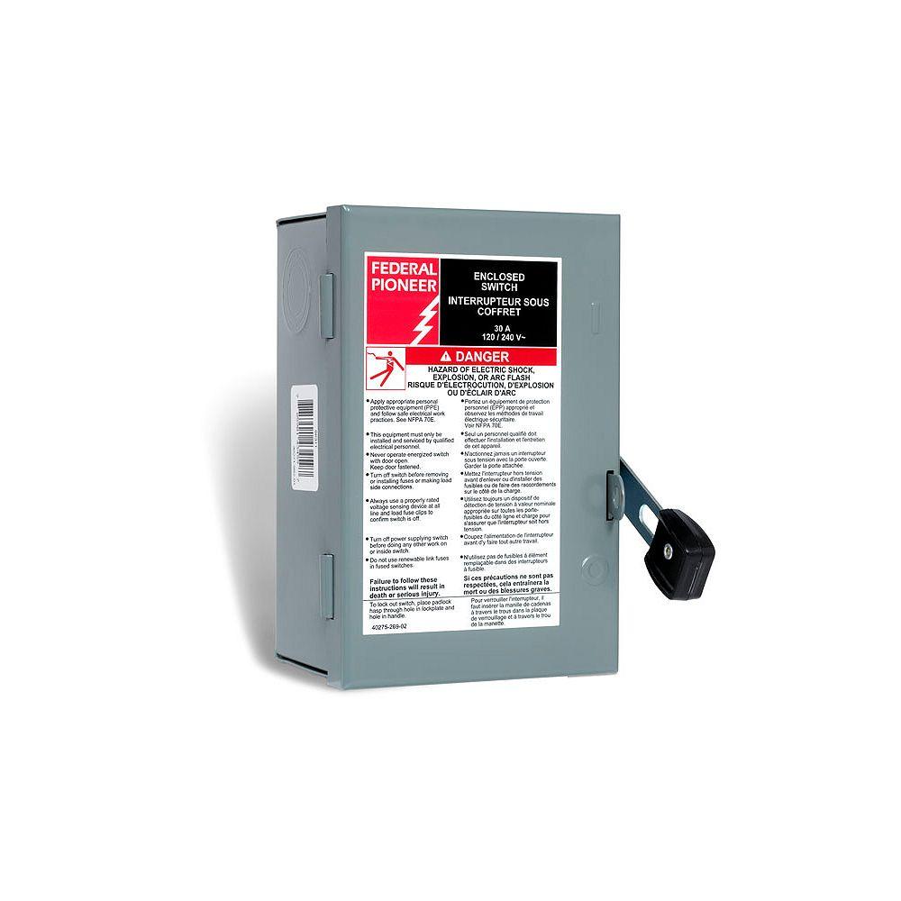 Schneider Electric - Federal Pioneer Interrupteur de sécurité unipolaire de 30A, à usage général