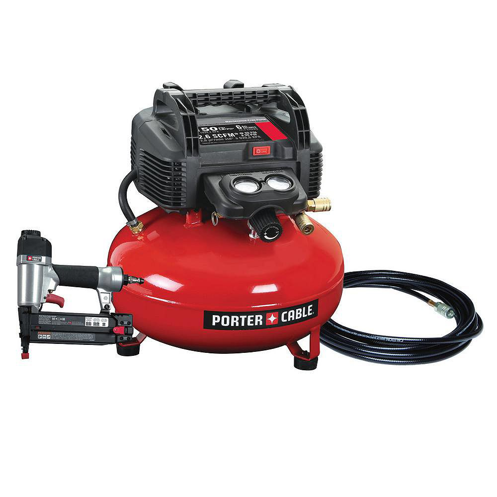 PORTER-CABLE 22.7 L 150 PSI Portable Electric Air Compressor and 18-Gauge Brad Nailer Combo Kit (1-Tool)