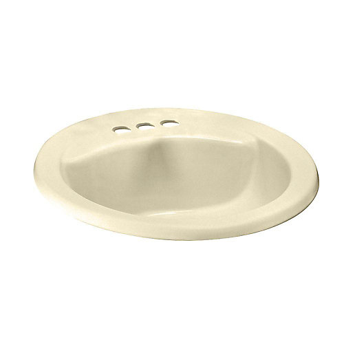 Cadet Drop-In Oval Self-Rimming Sink Basin  with Front Overflow in Bone