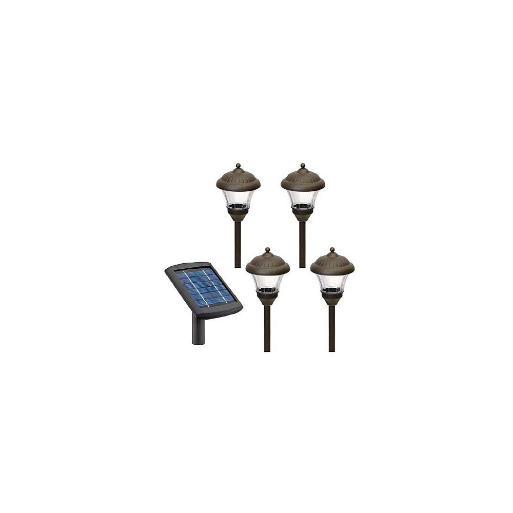 Malibu Ensemble de 4 lampes solaires pour allée - Bronze frotté à l'huile
