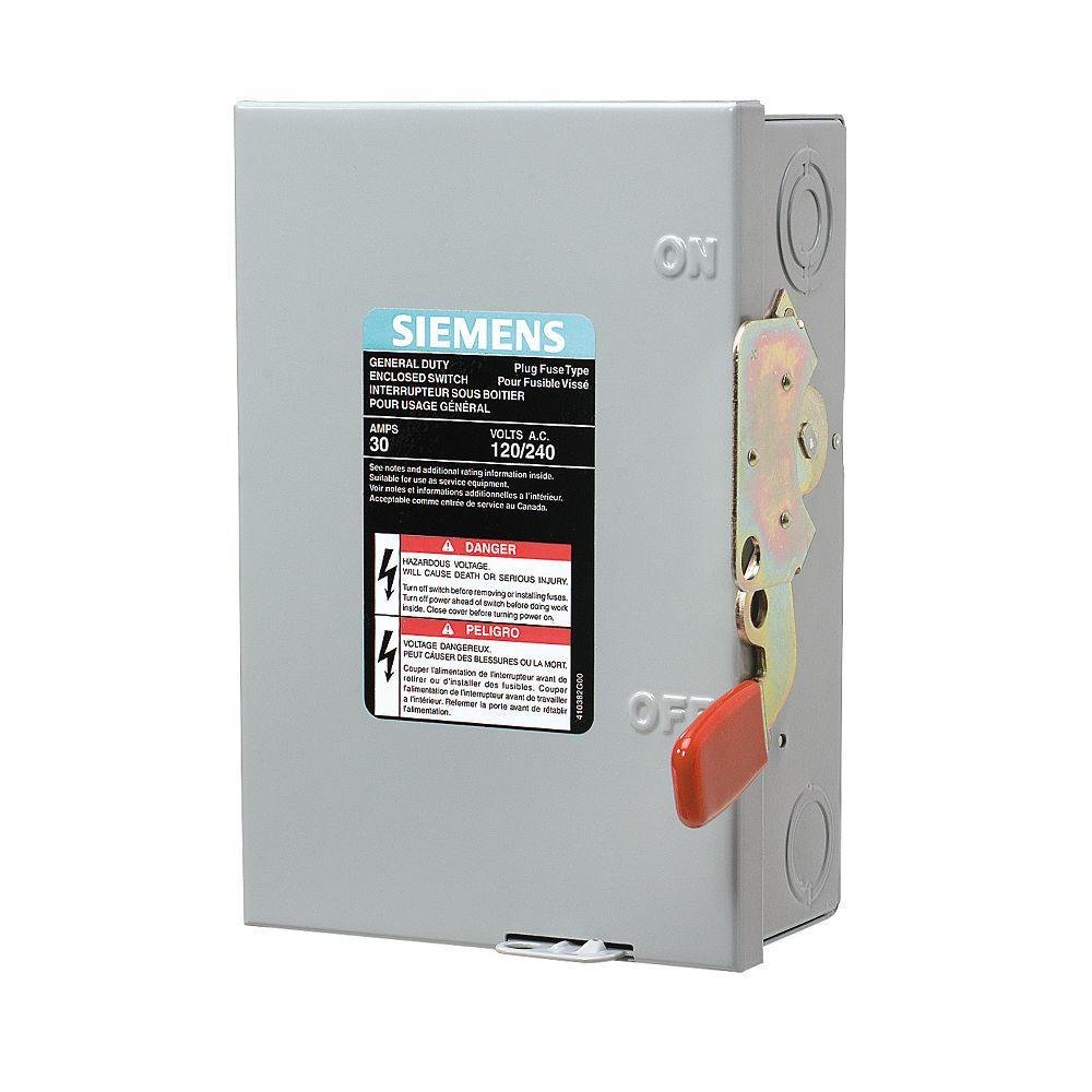 Siemens 30A 2 pôles et neutre interrupteur 120V Fusible Siemens