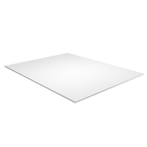 Feuille en plastique ondulée blanc de 0,39 cm x 121 cm x 243 cm (0,157po x 48po x 96po)