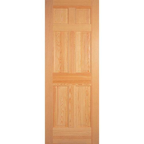 Porte 6 panneaux pin clair 28 pouces x 80 pouces