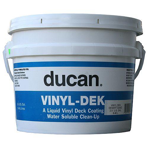 La couche d'acrylique Vinyl dek est une application utilisée pour une surface préalablement recouverte d'une couche. Il n'a pas pour but de recouvrir un contreplaqué sans couche ou un vinyle.