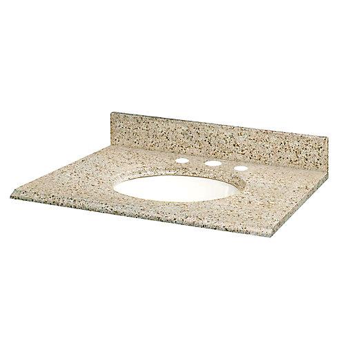 Revêtements de comptoir pour meubles-lavabos de 124,5 cm x 55,9 cm (49 po x 22 po) en granit beige