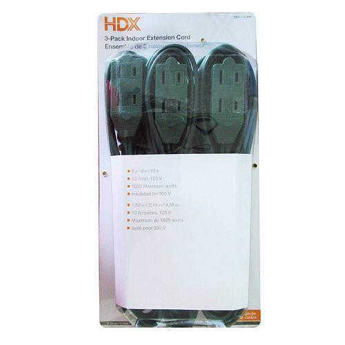 HDX indoor light-duty extension cords (3-Pack)