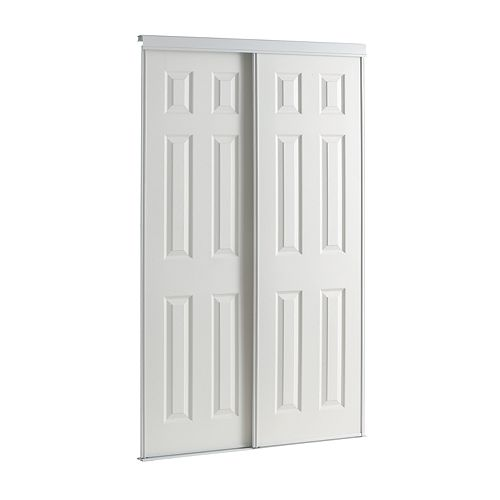 48-inch White Framed 6-Panel Sliding Door