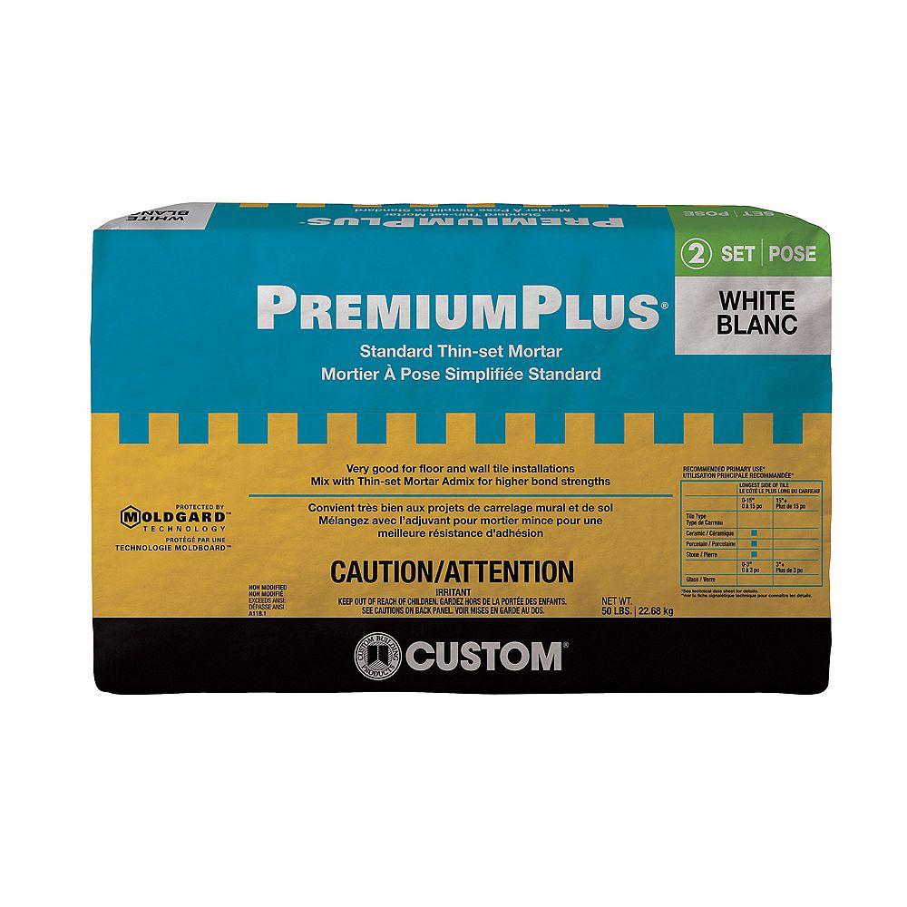 Custom Building Products PremiumPlus Mortier à Pose Simplifiée Standard  – Blanc 22.68 Kg