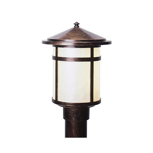 Residence Series, Antique Copper with Pearled Acrylic Diffuser, Post Top Mount