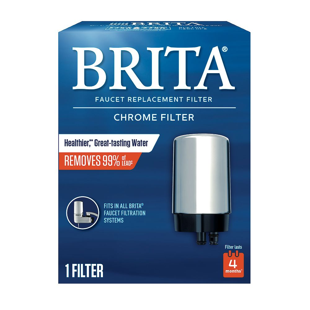Brita On Tap Faucet Water Filter System Replacement Filters, Chrome, 1 Count