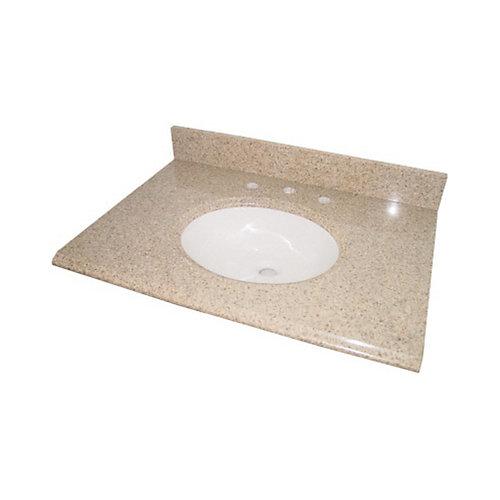 Dessus de meuble-lavabo en granit beige avec lavabo blanc intégré, 94cm (37po)
