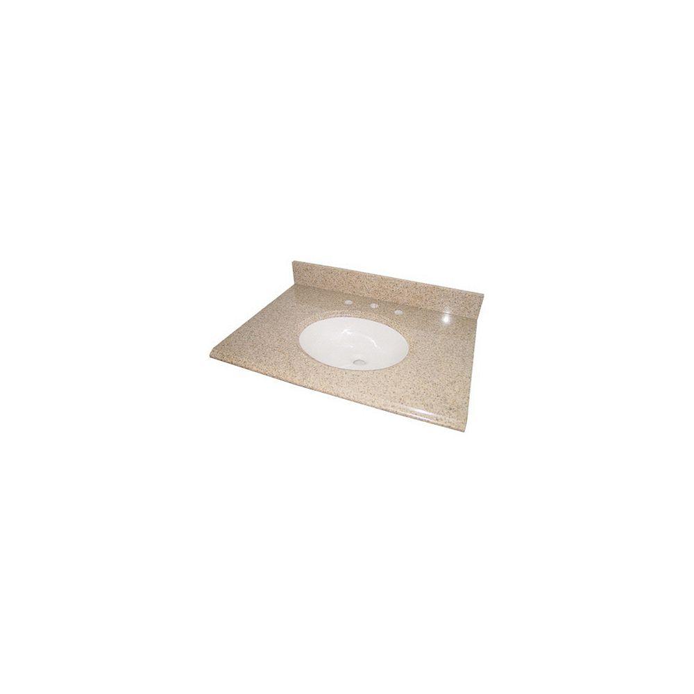 Glacier Bay Dessus de meuble-lavabo en granit beige avec lavabo blanc intégré, 94 cm (37 po)