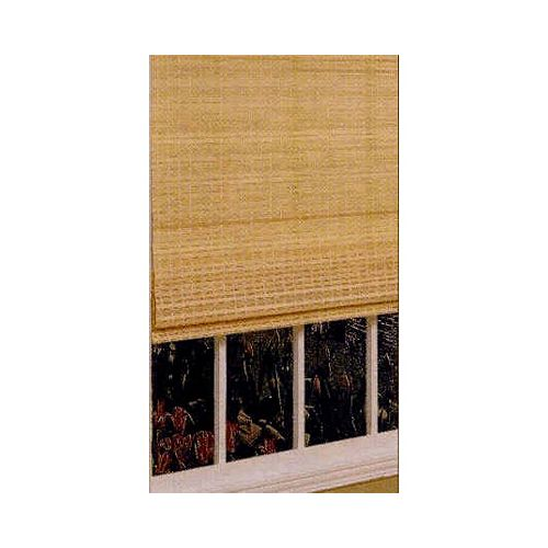 30 In. x 64 In. Bamboo Roman Shade W/ttached Valance - Natural