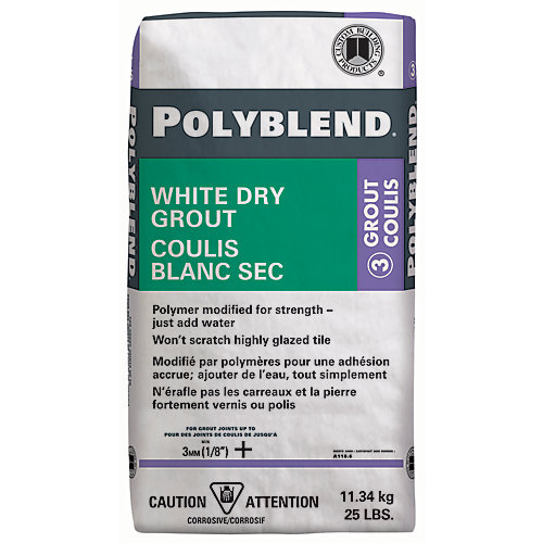 Polyblend White Dry Tile Grout - 25-lb
