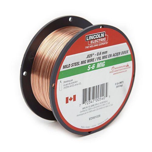 ".025"" S-6 MIG Wire -2lb Spool"