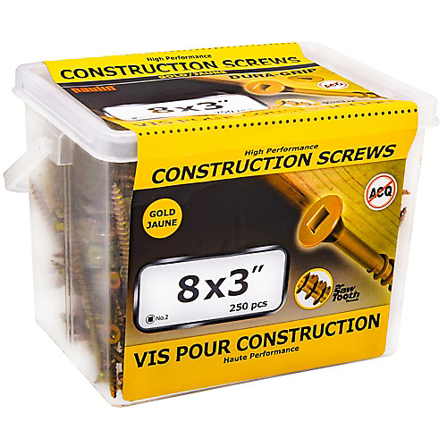 #8 x 3-inch Flat Head Square Drive Construction Screws in Yellow Zinc - 250pcs