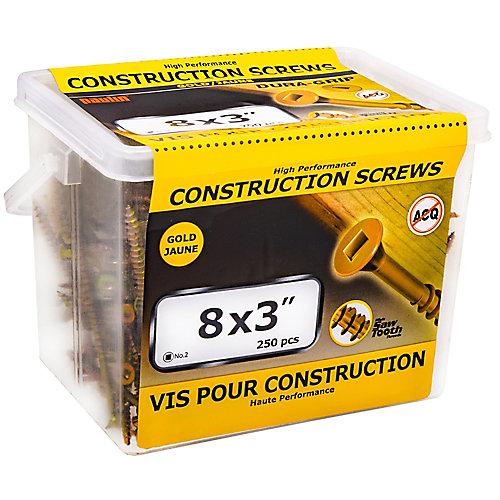Vis de construction à tête plate carrée #8 x 3 pouces en or - 250pcs