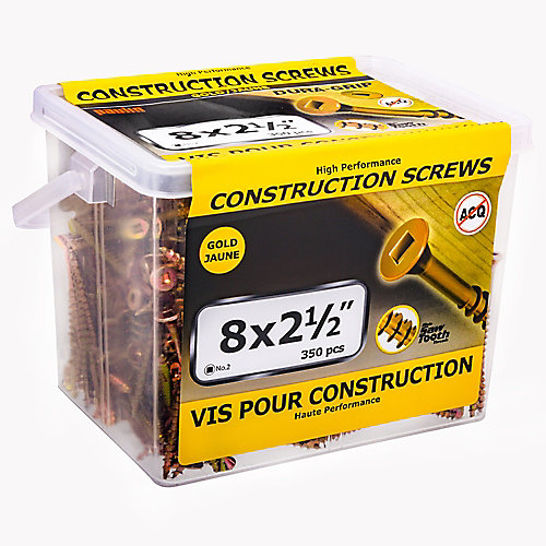 #8 x 2-1/2-inch Flat Head Square Drive Construction Screws in Yellow Zinc - 350pcs