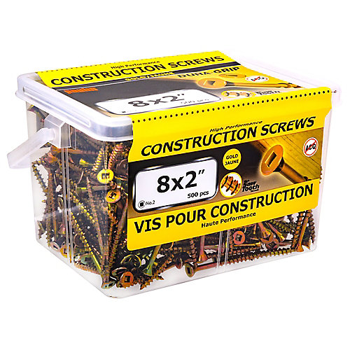 #8 x 2-inch Flat Head Square Drive Construction Screws in Yellow Zinc - 500pcs