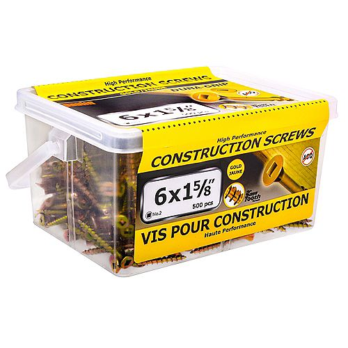 Paulin #6 x 1-5/8-inch Flat Head Square Drive Construction Screws in Yellow Zinc - 500pcs