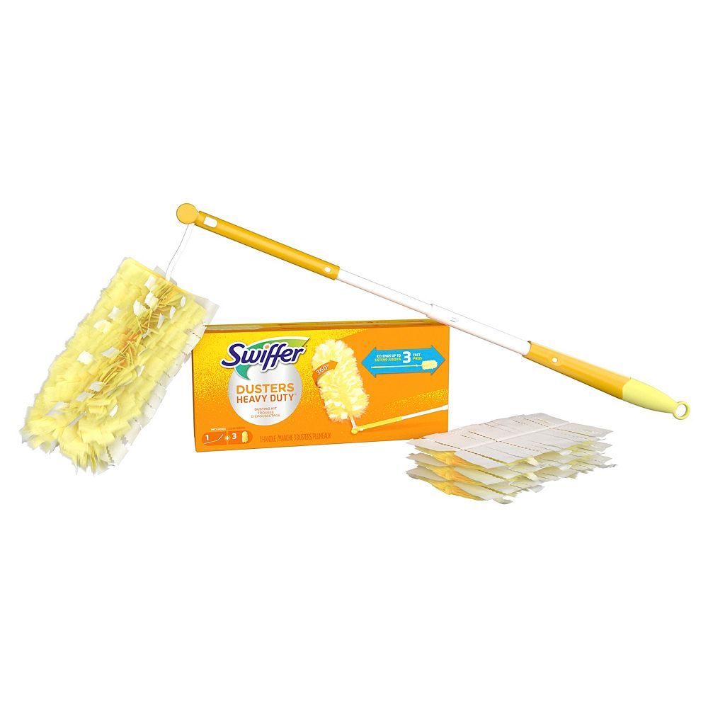 Swiffer Dusters Heavy Duty Extendable Handle Starter Kit with 1 Handle and 3 Dusters