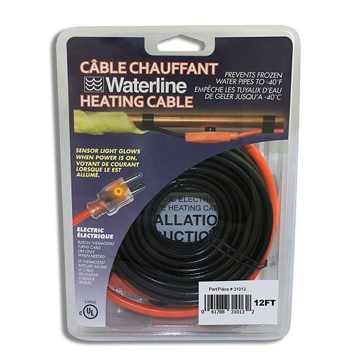 Câble chauffant pour tuyaux, 12pi