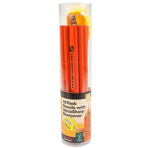 Carpenter Pencil and sharpener (10-Pack)