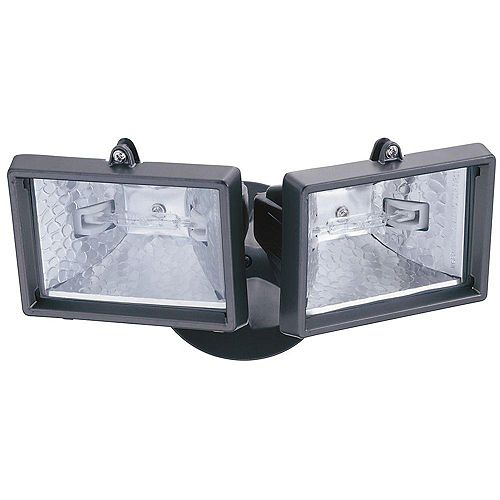 Compact Twin 150W Halogen Security Floodlight in Bronze