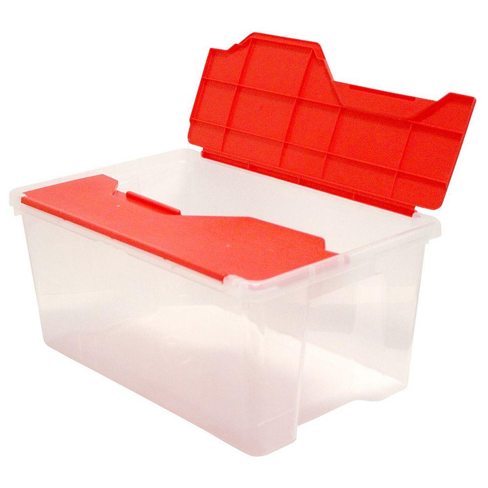 HDX Mini Flip Tote Red/Clear, 26 L
