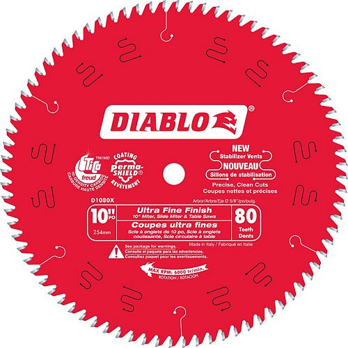 Diablo 10-inch x 80 Tooth Carbide Tipped Ultra Fine Finish Mitre/Table Saw Blade for Wood Cutting
