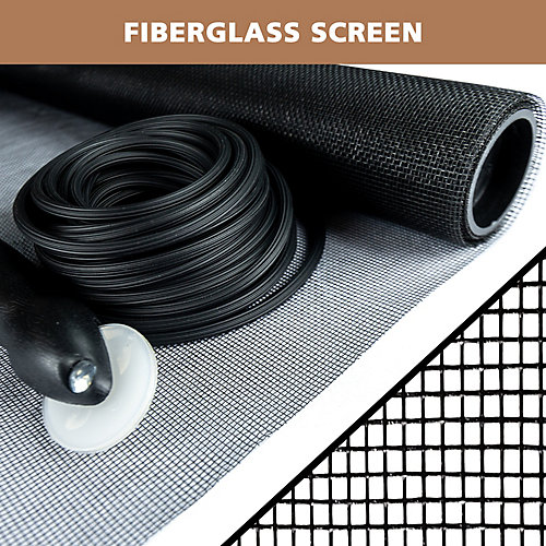36-inch x 84-inch Black fiberglass Screen Repair Kit