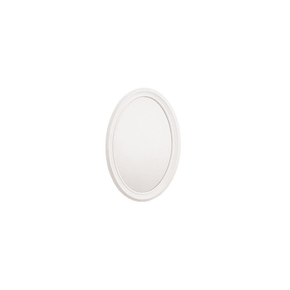 STANLEY Miroir encadré ovale de meuble-lavabo, 21 po x 31 po, Blanc