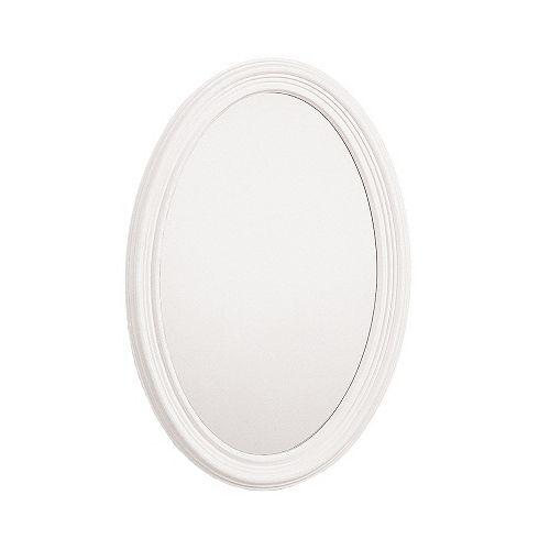 Miroir encadré ovale de meuble-lavabo, 21 po x 31 po, Blanc