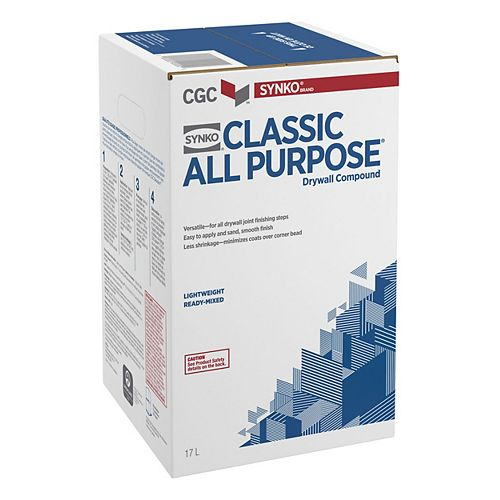 CGC Synko Classic All-Purpose Drywall Compound, Ready Mixed, 17 L Carton