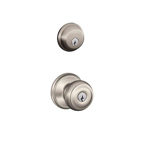 Schlage Georgian Entry Handle Set in Satin Nickel