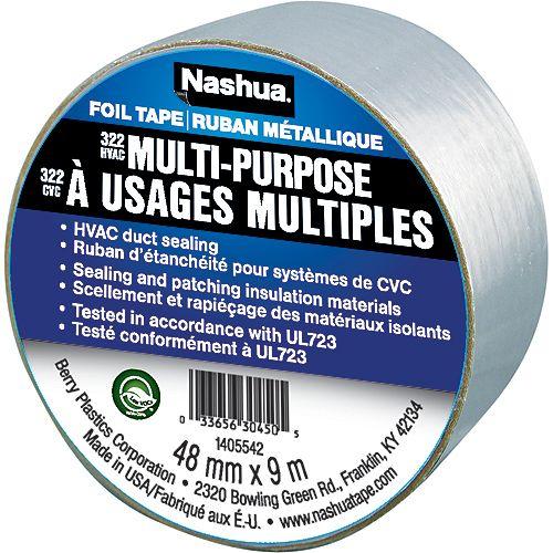 322 Series 1.89-inch x 30 ft. Multi-Purpose HVAC Foil Tape