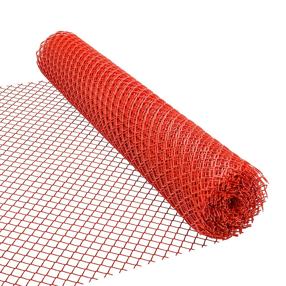 HDX 50 ft. L x 48-inch H PVC Vinyl Safety Fence in Orange with 1 1/2-inch x 1 1/2-inch Mesh Size