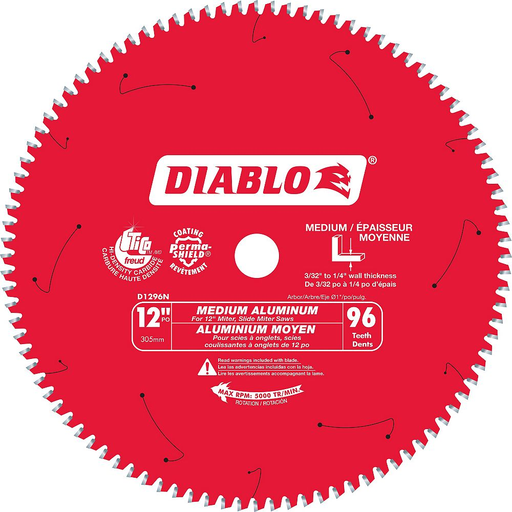 Diablo 12-inch x 96 Tooth Carbide Tipped Mitre/Table Saw Blade for Aluminum Cutting