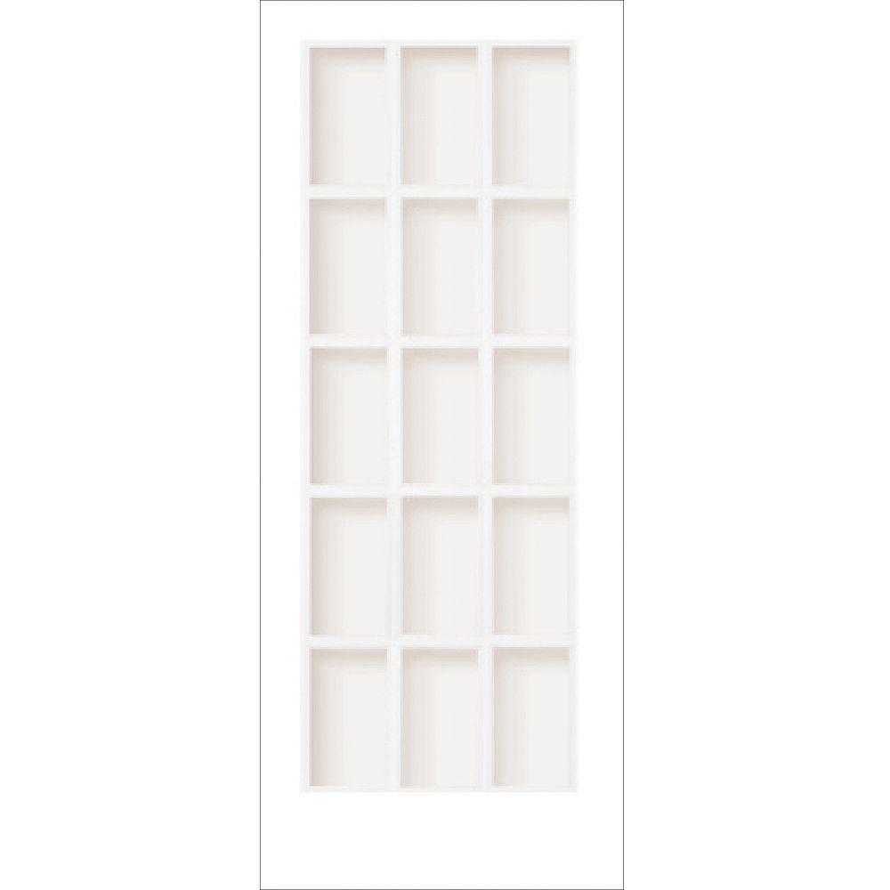 Milette 30x80 Porte française 15 verres clair en apprêt blanc usinée pour trou de poignée et pentures