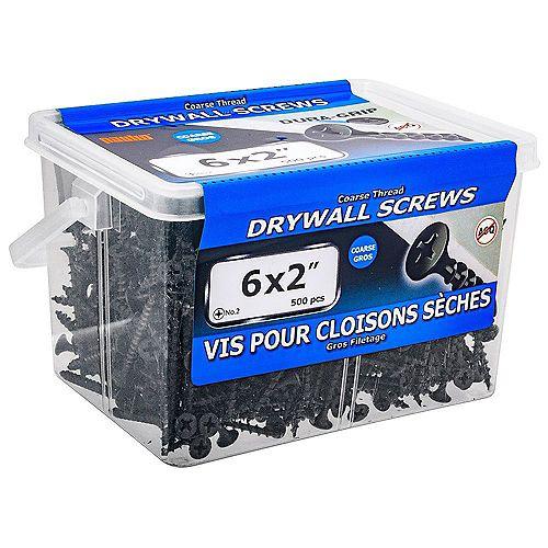 #6 x 2-inch Flat Head Phillips Drive Coarse Thread Drywall Screws - 500pcs