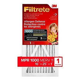 16-inch x 25-inch x 1-inch Allergen Defense MPR 1000 Micro Allergen Furnace Filter