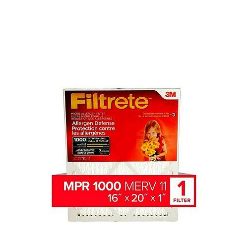 16-inch x 20-inch x 1-inch Allergen Defense MPR 1000 Micro Allergen Filtrete Furnace Filter