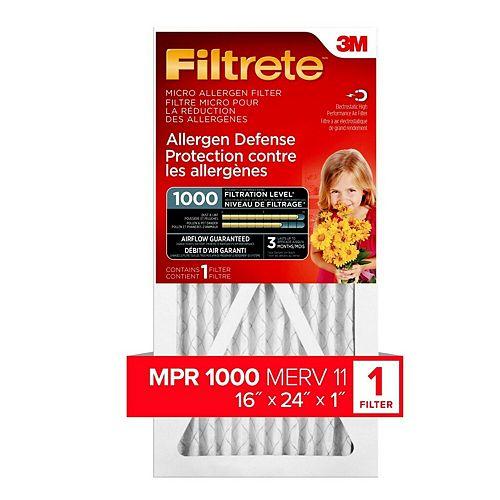 16-inch x 24-inch x 1-inch Allergen Defense MPR 1000 Micro Allergen Filtrete Furnace Filter