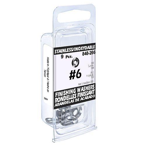 #6 18.8 Stainless Steel Finishing Washers (9 Pcs)