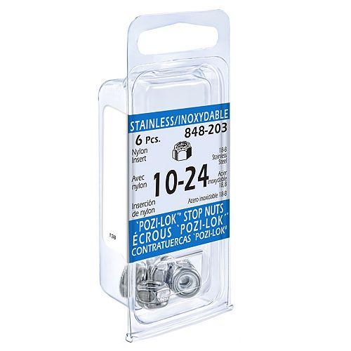 #10-24 Nylon Insert Stop Nuts Unc, 18-8 Stainless Steel, 6pcs