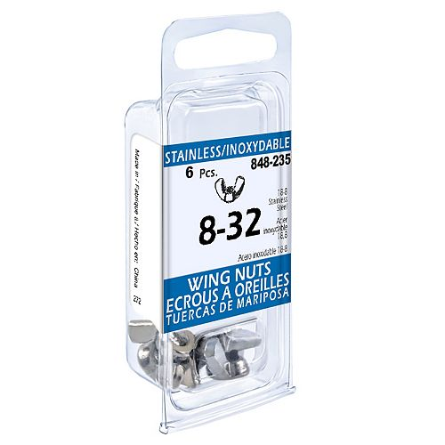 #8-32 18.8 Stainless Steel Wing Nuts (6 Pcs)