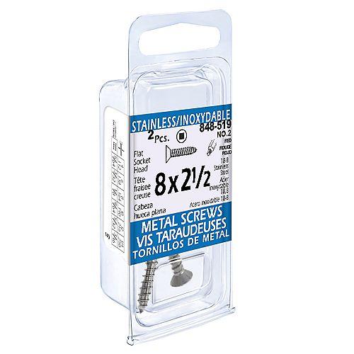 Paulin #8 x 2-1/2-inch Flat Socket Head Tapping Screws (2 Pcs)