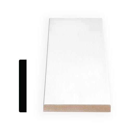 1/2-inch x 3 1/2-inch Modern MDF Primed Fibreboard S4S Baseboard Moulding