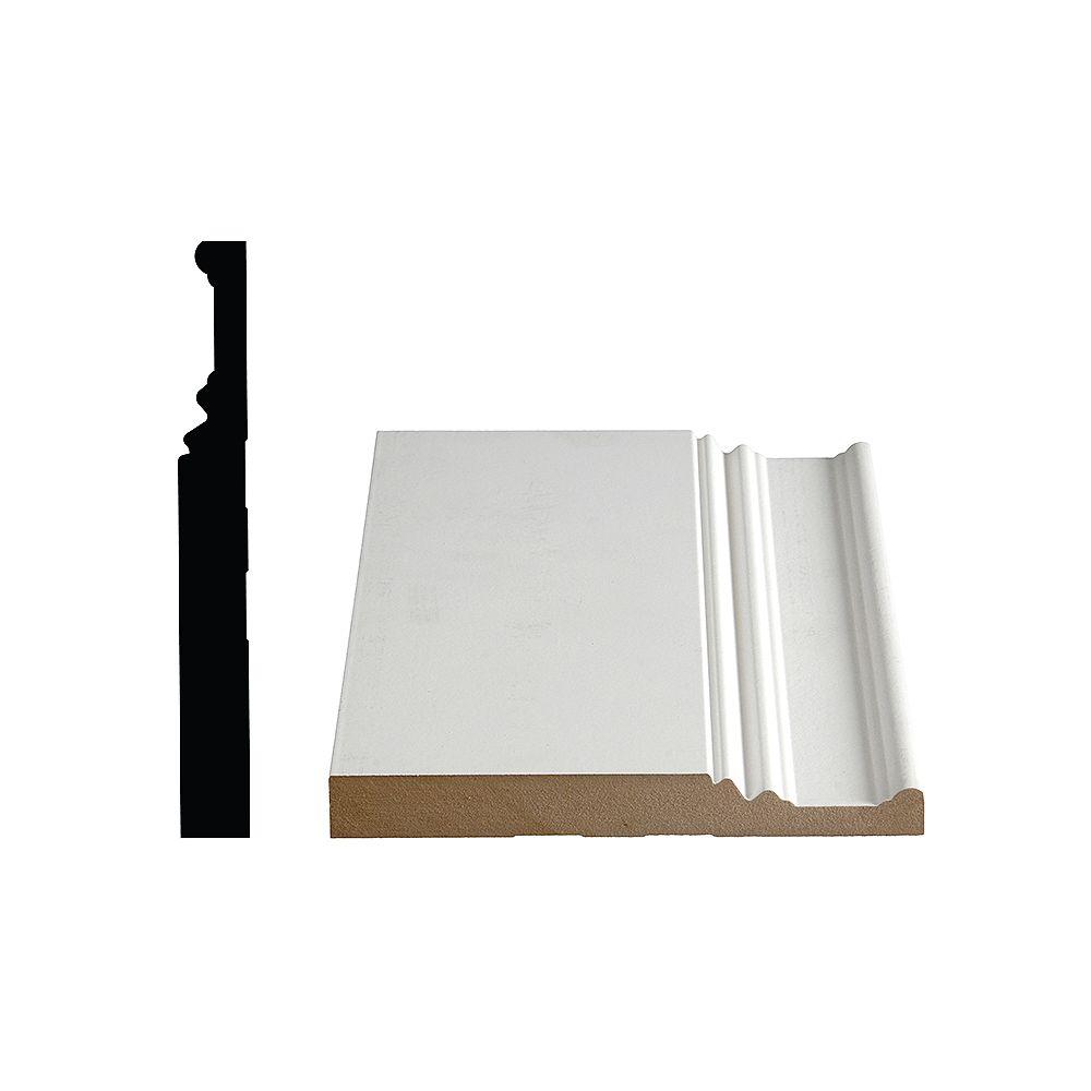 Alexandria Moulding 7/8-inch x 7 3/8-inch LDF Primed Fibreboard Baseboard Moulding