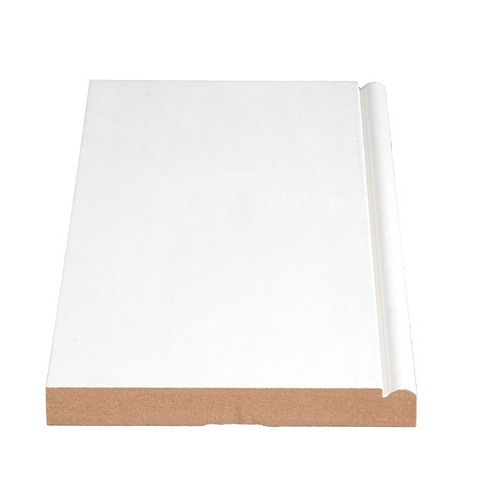 5/8-inch x 5 1/4-inch Modern LDF Primed Fibreboard Baseboard Moulding